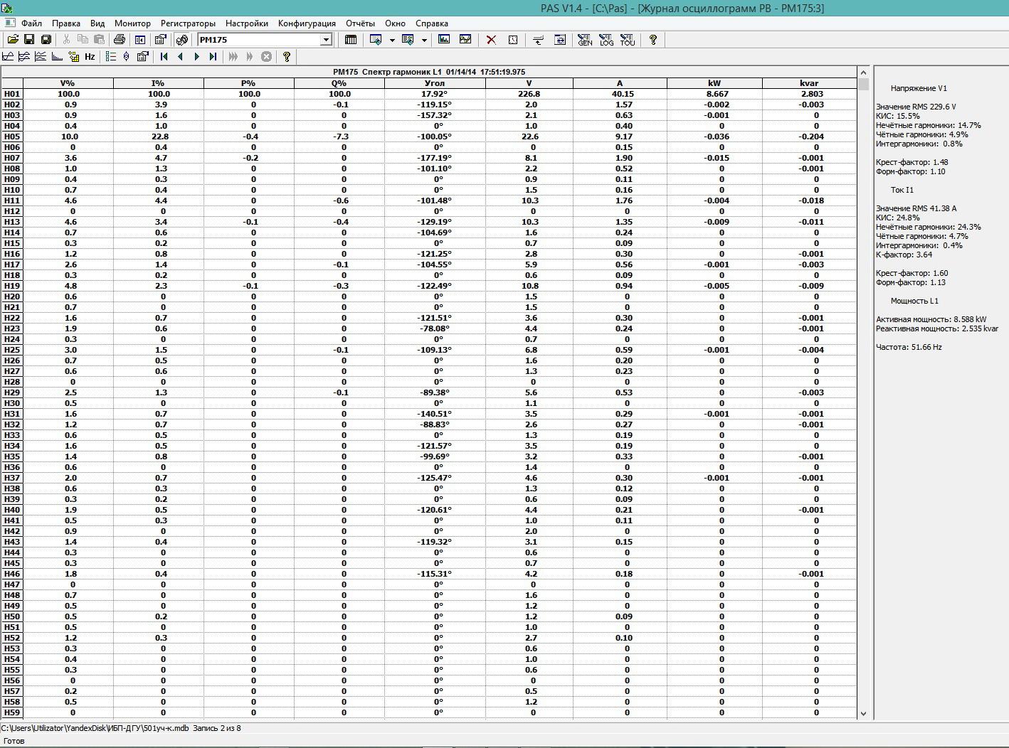 Рис. 2  - окно программы PAS спектр гармоник - табличная форма.