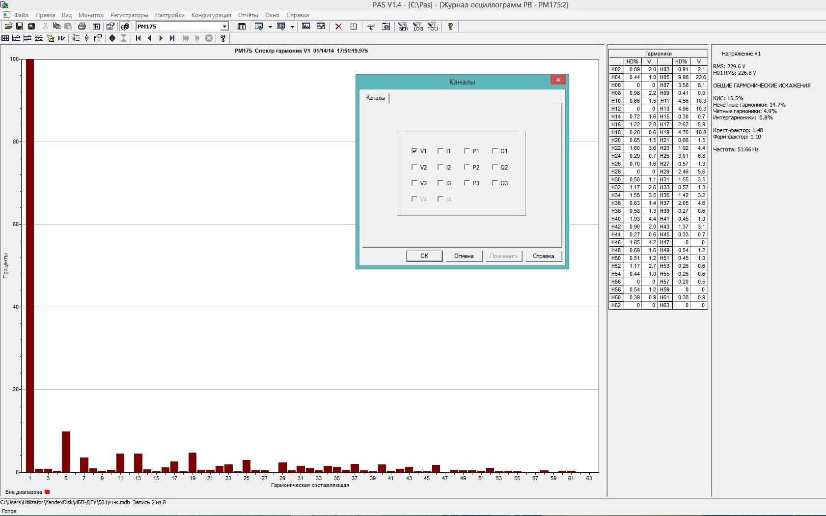 Рис. 3  - окно программы PAS спектр гармоник - гистограмма.