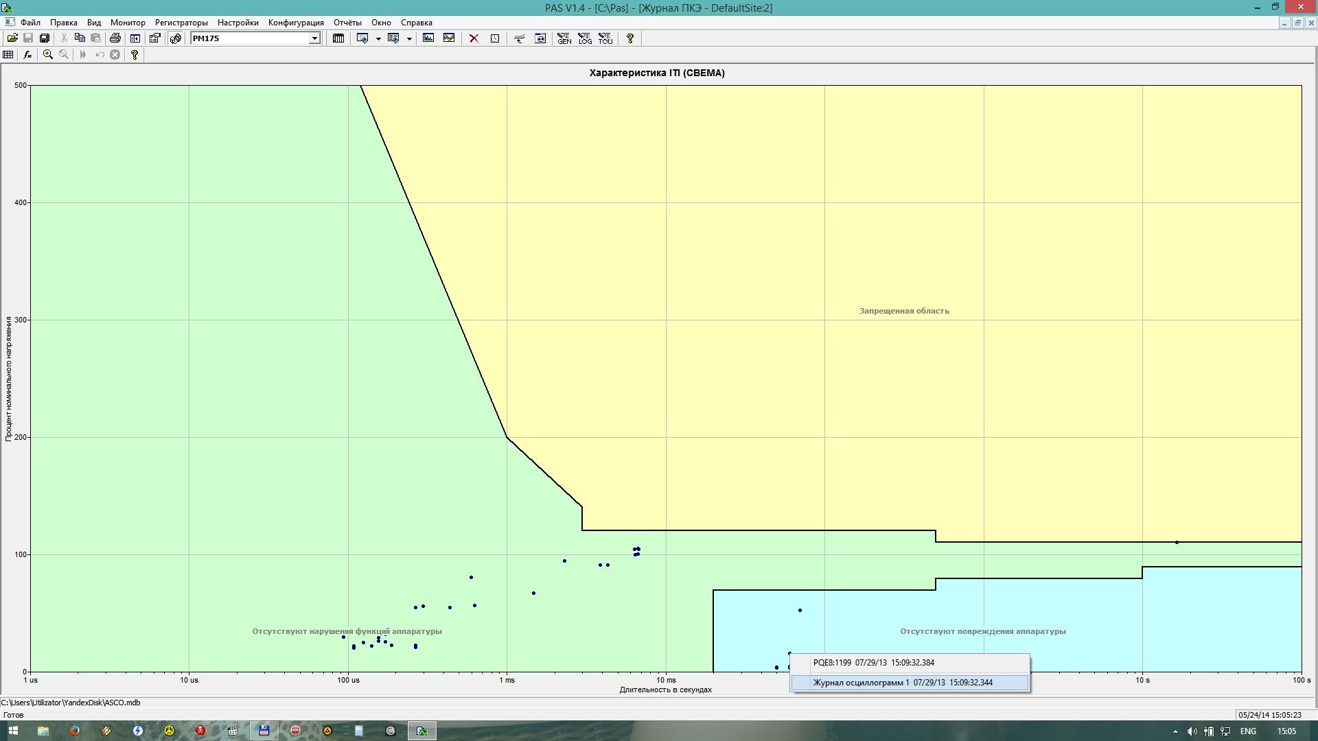 Рис. 7  - окно программы PAS график СВЕМА.